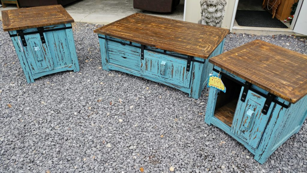 Barter Post - Old Blue Two Tone Barn Door Tables